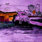 The run away truck of distruction, watercolor by Anna  Lewis