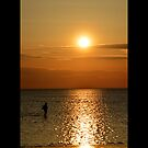 Man Walking Along Coast Of Long Island Sound - Stony Brook, New York by  Sophie Smith