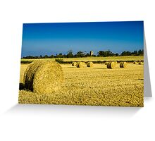 Cylindrical Hay Bales England Greeting Card