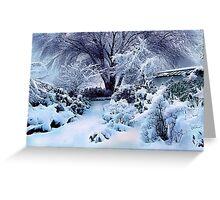 on a freshly fallen silent shroud of snow Greeting Card