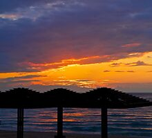 Sunset on Carmel Beach Haifa Israel by Suzanne Kirstein