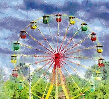 Ferris wheel painting by Magomed Magomedagaev