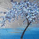 Blue stars cherry blossom tree by cathyjacobs
