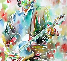 BRUCE SPRINGSTEEN PLAYING the GUITAR - watercolor portrait.4 by lautir