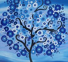 vertical blue tree with circles, sand and waves- the sea tree by cathyjacobs