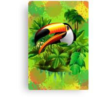 Toucan on Wild Green Jungle  Canvas Print