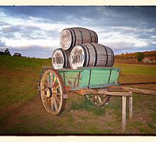 Cart & Wine Barrels 1 by Rob Kelly