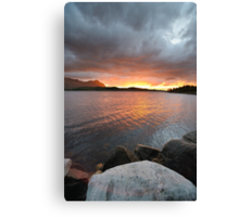 Sunset before the storm on the lake Canvas Print