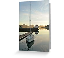 Sunset over the fjord in calm weather Greeting Card