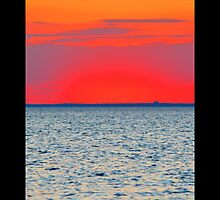 Long Island Sound Red Dusk - Stony Brook, New York by © Sophie W. Smith