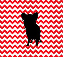 Fire Truck Red Chevron With Yorkie Silhouette by pjwuebker