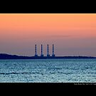 National Grid Power Plant Chimneys - Asharoken, New York  by © Sophie Smith