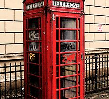 Red/Graffiti Phone Box by bluecheezz