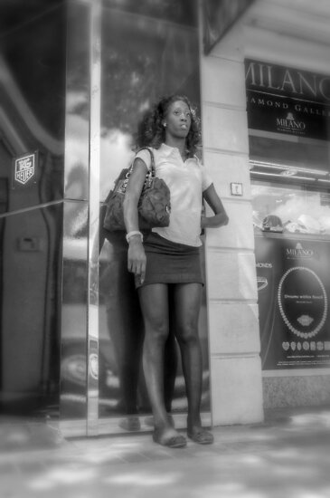 Waiting for the Bus in Downtown Nassau, The Bahamas by Jeremy Lavender Photography