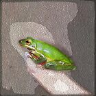 tree frog on my finger by sparkleshine