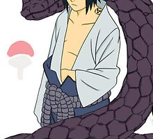 Sasuke with Snake - iPhone Case by squidkid