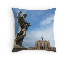 Angel with thorn crown and Castel Sant' Angelo, Rome, Italy Throw Pillow