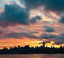 Panorama of manhattan skyline in new york city at sunrise by Prashant Agrawal