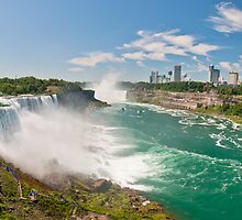 Panaroma view of Niagara Falls in New York state and the city skyline from the USA side by Prashant Agrawal