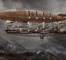 Steampunk - Blimp - Airship Maximus  by Mike  Savad