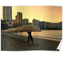 Umbrellas at dawn Poster