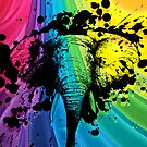Charging Bull Elephant on Rainbow by pjwuebker