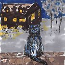 Night Cat, an art card (hand drawn, 2x3 inches) by Regina Valluzzi