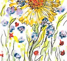 The extravert, hand drawn art card, 2x3 inches by Regina Valluzzi