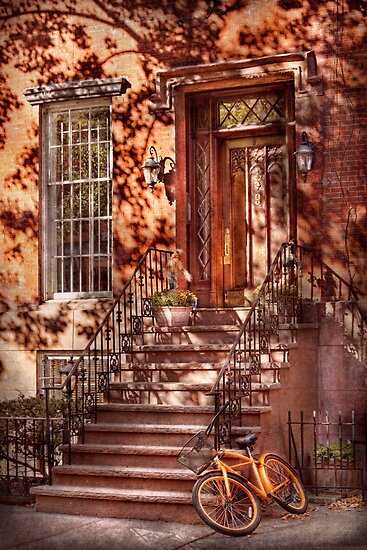 Bike - NY - Greenwich Village - An orange bike  by Mike  Savad