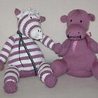 Zebra Foal & Hippo Calf in Pink! by Dionne Meade