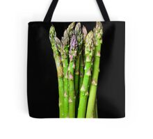 Green asparagus on black Tote Bag