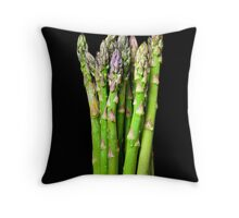 Green asparagus on black Throw Pillow
