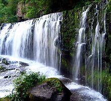 Sgŵd isaf Clun-gwyn Waterfall by Avril Harris