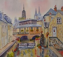 By the river - Bayeux- France by Beatrice Cloake