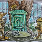 Watercolor Sketch - Toad's Book Club Statues. Mountain View Library 2013 by Igor Pozdnyakov