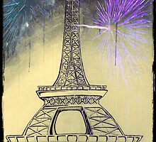 Eiffel Tower  Black and White with fireworks by KimiStMarie