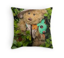 Mr. T. Bear On Holiday in The Rainforest!  Throw Pillow
