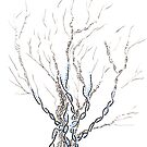 Little DNA Tree, Hand drawn ink on paper ACEO by Regina Valluzzi