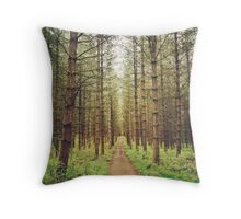 Long path in the woods Throw Pillow