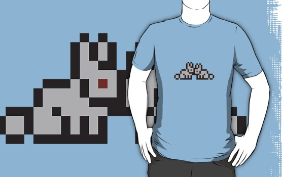 Pixel Rabbits (Light Grey With Red Eyes) by jamjam195