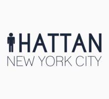 Man hattan Tee - New York City - Yankee Blue Lettering by manhattantee