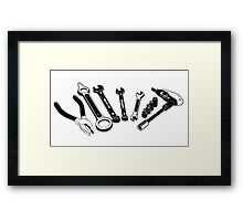 Mechanic Tools Illustration Framed Print