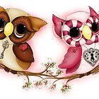 So In Love Hooties - Valentines Owl Art by Concetta Kilmer