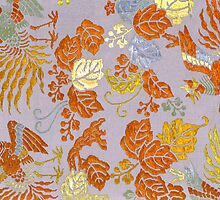 japenese print golden blossom fabric by meretsegur