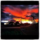 MTB tailwhip sunset silhouette at the skatepark  by toddedenborough