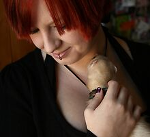 Self Portrait with Ferret 02 by Wizadora Wilkinson
