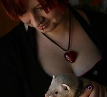 Self Portrait with Ferret 03 by Wizadora Wilkinson