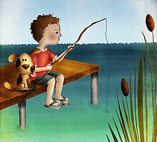 Fishing with a friend by Kristy Spring-Brown