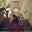 Burgundy Gown on Stone Church Steps by samanthapugsley
