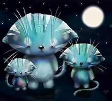 Lucky, Lola and Luna, Full Moon Cats by © Karin  Taylor